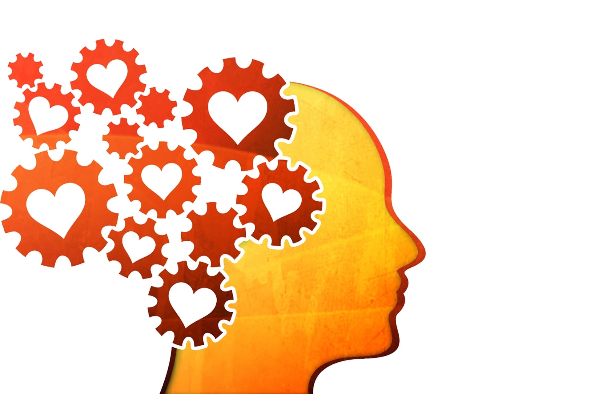 Kopf mit Herz und Zahnrad Icons zur Altenpflegeausbildung bei der ToP GbR