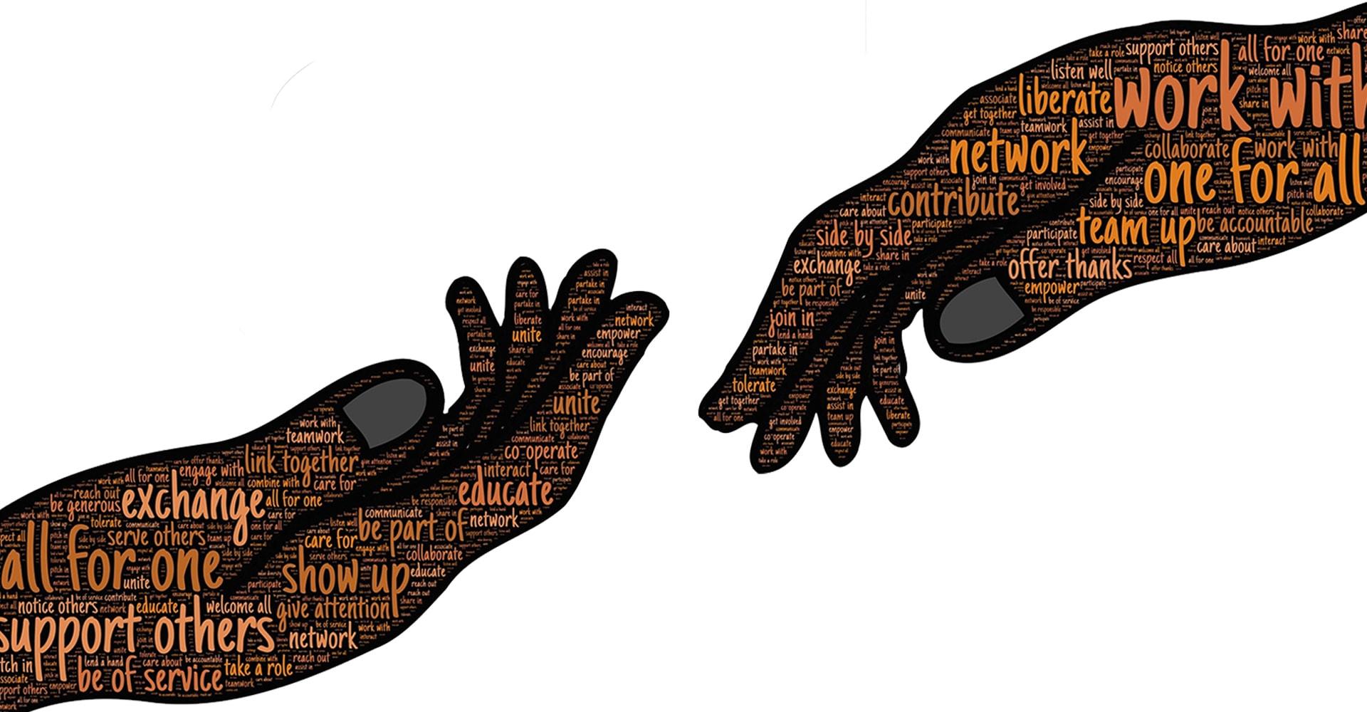 Zwei sich greifende Hände mit Text zur Wohnbereichsleitung der ToP GbR Pflegeschule